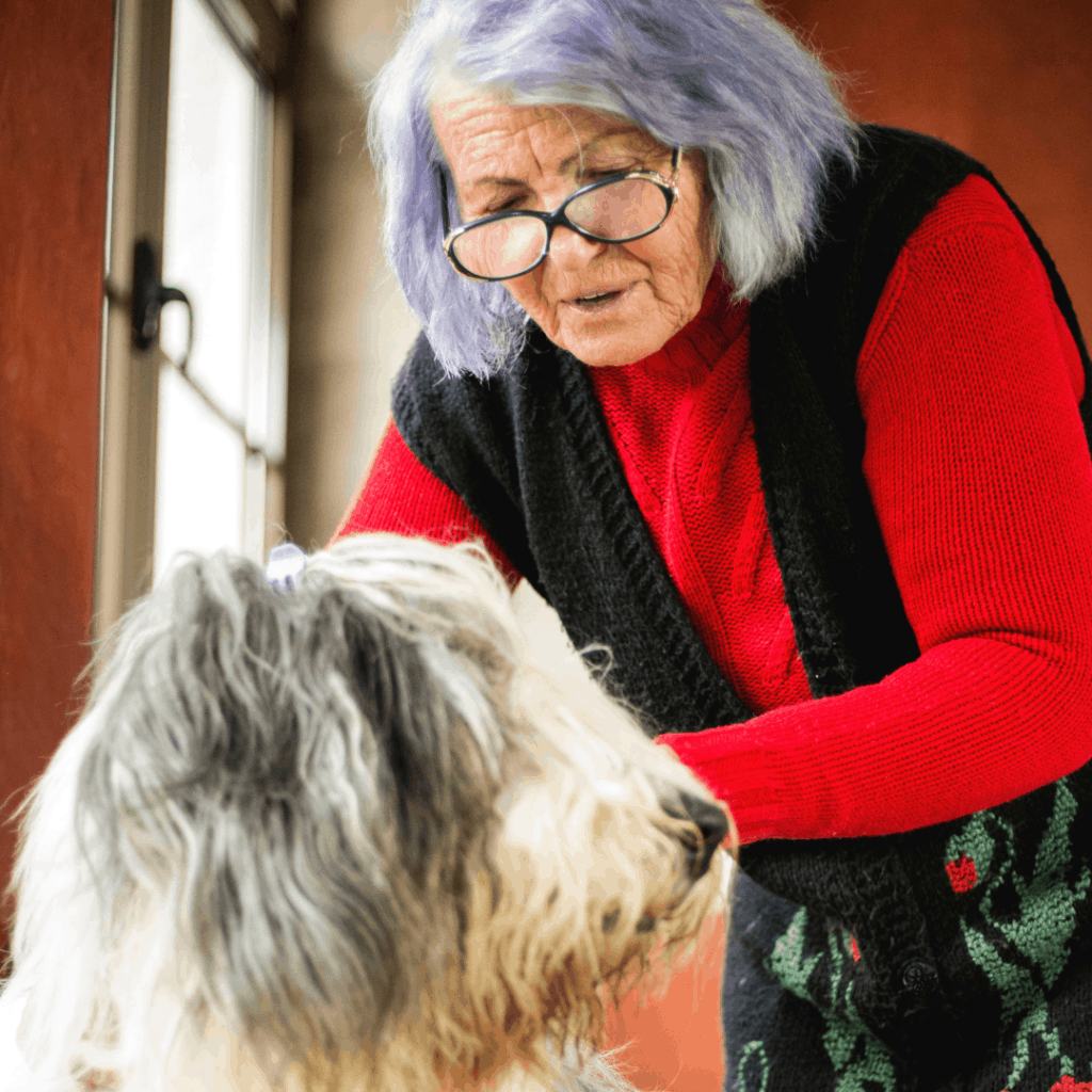 older woman with dog
