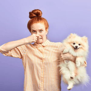 woman holding nose while holding dog